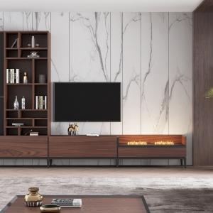 Mueble de TV con chimenea eléctrica y vitrina